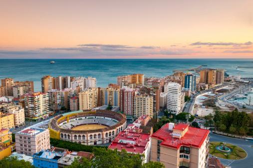 Málaga - Málaga Province「Malaga Cityscape at Sunset, Spain」:スマホ壁紙(7)