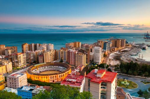 Málaga - Málaga Province「Malaga Cityscape at Sunset, Spain」:スマホ壁紙(11)