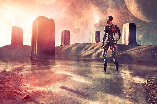Ancient Civilization「Future robot mankind discovering ancient Rune stone obelisks」:スマホ壁紙(10)