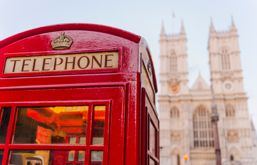 Westminster Abbey「UK, London, Phone booth with Westminster Abbey behind」:スマホ壁紙(9)