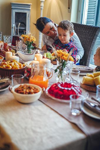 Colorful「家族を持つ伝統的な休日詰めトルコ ディナー」:スマホ壁紙(9)