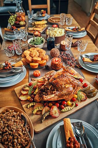 Stuffed Turkey「Family Having Traditional Holiday Stuffed Turkey Dinner」:スマホ壁紙(12)