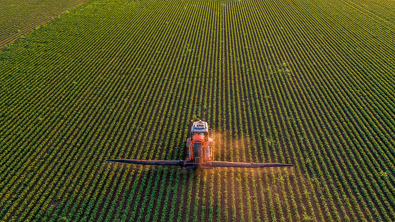 Spraying「Serbia, Vojvodina, Aerial view of a tractor spraying soybean crops」:スマホ壁紙(5)