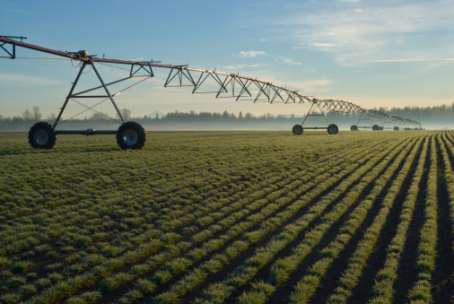 Irrigation Equipment「USA, Oregon, Agricultural sprinklers in field」:スマホ壁紙(17)