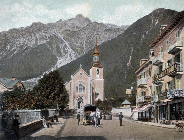 Chamonix「Chamonix Mont-Blanc, France : view of the church and the Brevent, postcard, c. 1900」:写真・画像(11)[壁紙.com]