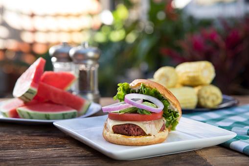 Char-Grilled「Vegan Burger Picnic with Watermelon and Corn」:スマホ壁紙(6)