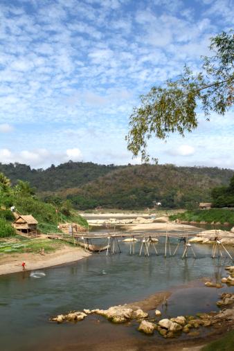 Unrecognizable Person「Bamboo bridge over a river in Luang Prabang in Laos」:スマホ壁紙(4)