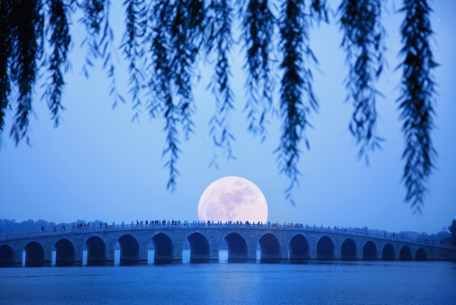 Focus On Background「long shot of stone bridge at moonrise」:スマホ壁紙(5)