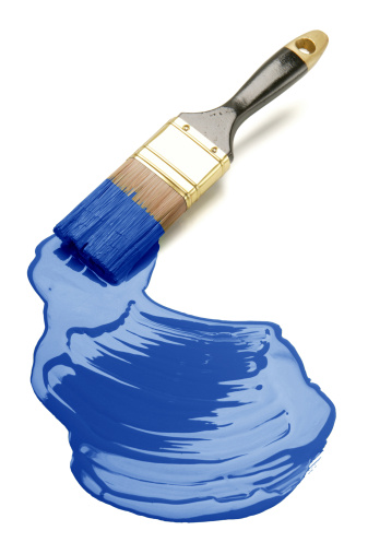 Art「Paintbrush on white underground painting blue」:スマホ壁紙(14)