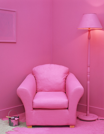 Pink「Paintbrush and can on floor in room with furniture painted pink」:スマホ壁紙(12)