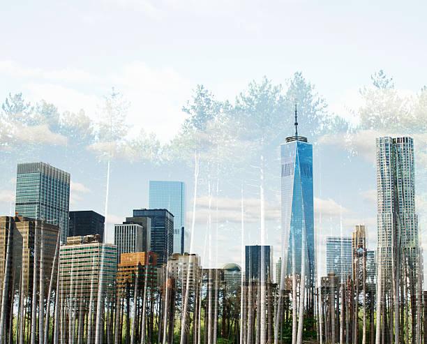New York with treeline.:スマホ壁紙(壁紙.com)