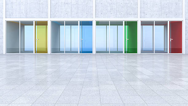 3D Rendring, modern architecture, offices, colorful glass doors, courtyard:スマホ壁紙(壁紙.com)