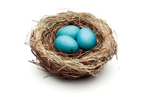 イースター「ブルーのイースター卵鳥の巣」:スマホ壁紙(4)