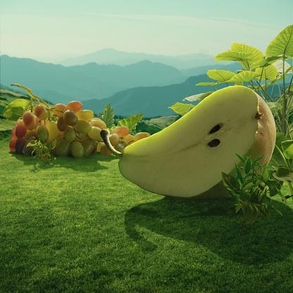 Fantasy「Surreal giant pear and grapes at mountain field」:スマホ壁紙(12)
