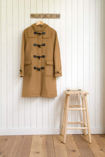 Winter Coat「Duffel coat hanging on wall」:スマホ壁紙(9)