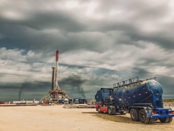 Fracking Oil Rig at sunset:スマホ壁紙(壁紙.com)