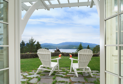 Adirondack Chair「View through doors to adirondack chairs, lake and mountains」:スマホ壁紙(19)