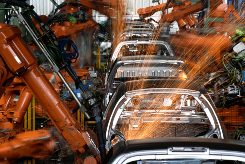 Automobile Industry「Robots In a Car Factory」:スマホ壁紙(16)