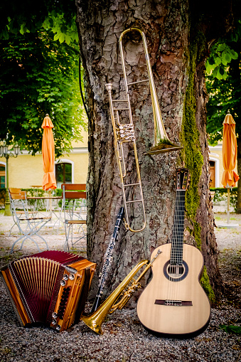 Trombone「Various musical instruments leaning at tree in a beer garden」:スマホ壁紙(18)