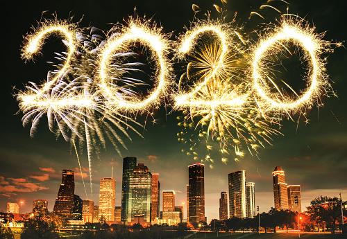 Fourth of July「fireworks in houston skyline - texas」:スマホ壁紙(4)