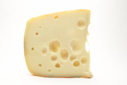 Hard Cheese「Slice of Swiss Cheese on a white background」:スマホ壁紙(1)