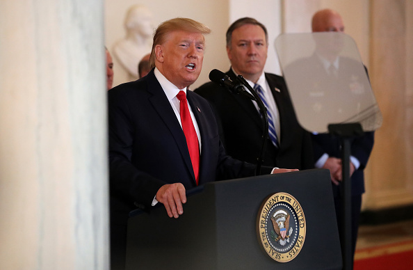 Secretary Of State「President Trump Addresses The Nation After Iranian Attacks In Iraq Target Bases Where U.S. Troops Stationed」:写真・画像(8)[壁紙.com]
