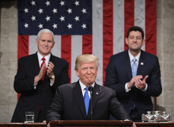 Lectern「President Trump Addresses The Nation In His First State Of The Union Address To Joint Session Of  Congress」:写真・画像(12)[壁紙.com]
