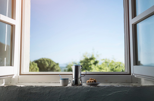 Window「Espresso can, coffee cup and pastry by the window」:スマホ壁紙(14)