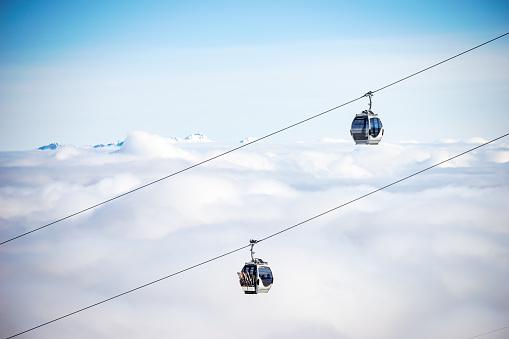 Unrecognizable Person「chairlifts, Kitzsteinhorn, salzburg, Austria」:スマホ壁紙(16)