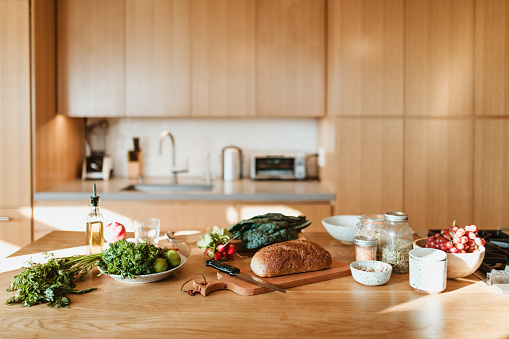 Preparing Food「Raw food and ingredients on kitchen island at home」:スマホ壁紙(17)