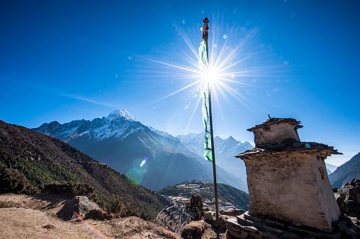 Namche Bazaar「A Stupa that sits above Namche Bazaar in the Himalayas Nepal」:スマホ壁紙(8)