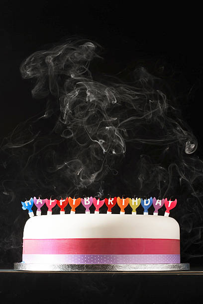 Iced cake with smoking melted happy birthday candles:スマホ壁紙(壁紙.com)