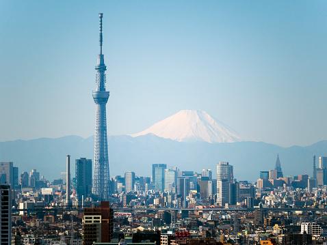 Minato Ward「Close up Tokyo Sky tree and M't fuji」:スマホ壁紙(0)