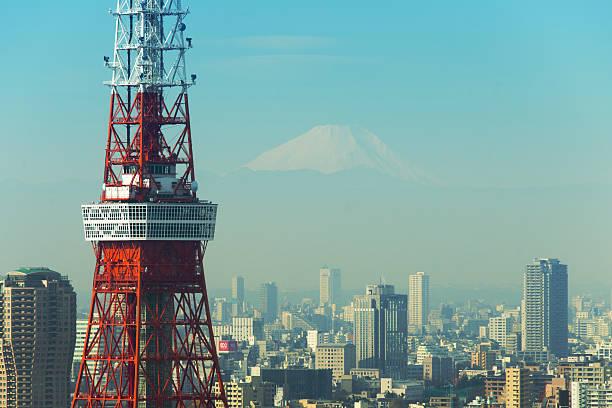 Close up Tokyo Tower and M't fuji:スマホ壁紙(壁紙.com)