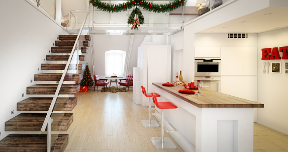 Steps and Staircases「Christmas Loft Interior」:スマホ壁紙(3)
