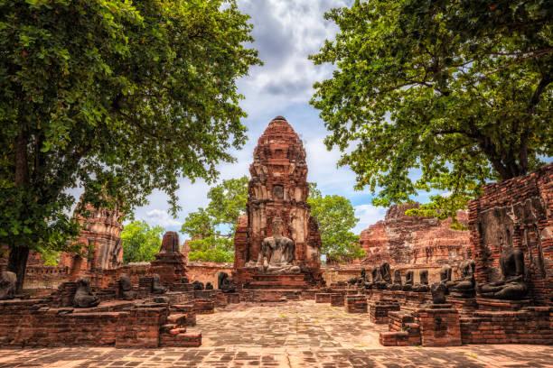 Wat Maha That old temple ruins in Ayutthaya, Thailand:スマホ壁紙(壁紙.com)