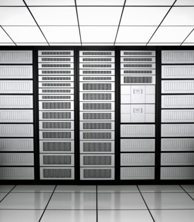 Data「Row of network servers in a server room」:スマホ壁紙(4)