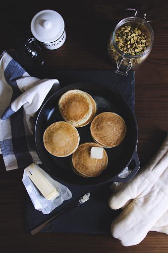 Griddle「Pancake, sugar, nut and butter on table」:スマホ壁紙(1)