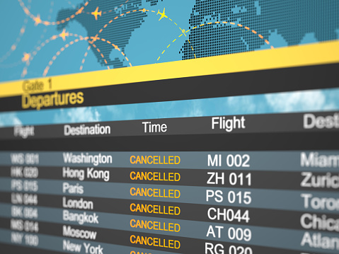 Delayed Sign「Airline schedule cancelled flying directions. Abstract 3d concept Covid 19」:スマホ壁紙(19)