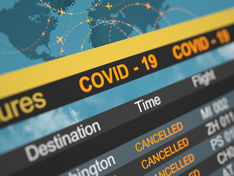 Delayed Sign「Airline schedule cancelled flying directions. Abstract 3d concept. Covid 19」:スマホ壁紙(4)