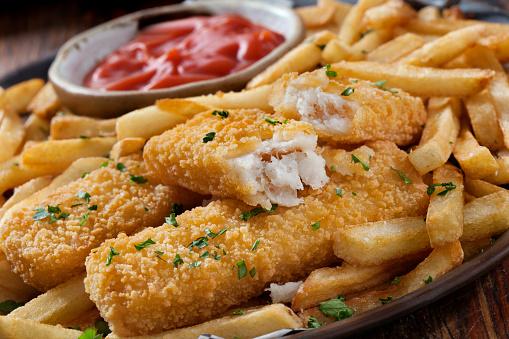 Pollock - Fish「Crispy Fish Sticks and Fries with Ketchup」:スマホ壁紙(5)