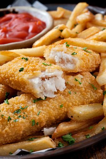 Pollock - Fish「Crispy Fish Sticks and Fries with Ketchup」:スマホ壁紙(2)