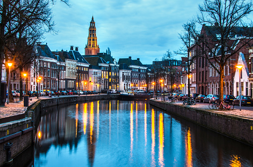 North Holland「A canal at night in Groningen a city in the north of The Netherlands」:スマホ壁紙(9)