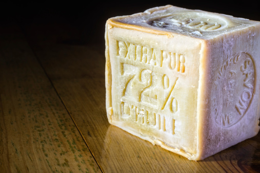 Soap「Marseille Soap bar with 72% olive oil on wooden table」:スマホ壁紙(9)