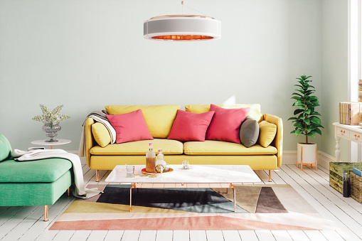 Pastel Colored「Colorful Modern Living Room Design」:スマホ壁紙(12)
