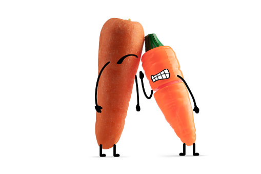 Cartoon「Carrot toy with illustrated facial features challenges real carrot to a fight」:スマホ壁紙(5)