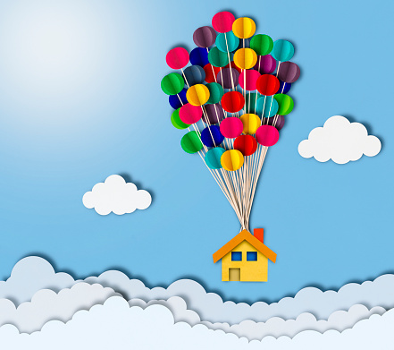 Balloon「Flying house over clouds, paper cutting style」:スマホ壁紙(8)