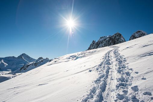 グルノーブル「Ski trak in the fresh snow」:スマホ壁紙(0)