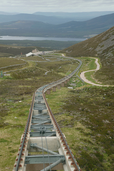 Extreme Terrain「Cairngorm Mountain Railway showing the track and operating cable. The base station is in the distance. June 2005」:写真・画像(7)[壁紙.com]