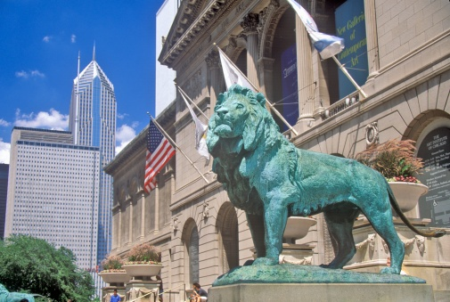 "Statue「""Entrance to the Art Institute of Chicago Museum, Chicago, Illinois""」:スマホ壁紙(16)"